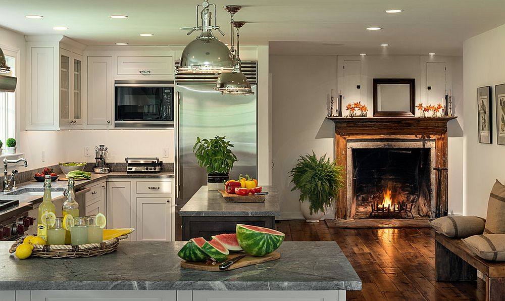 Modern Farmhouse Kitchen With Fireplace In The Kitchen